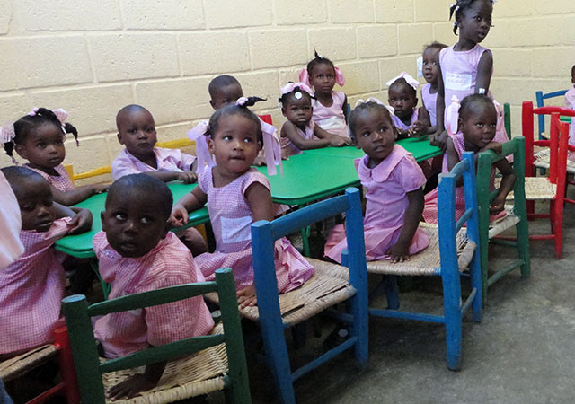 First graders in a classroom in Haiti